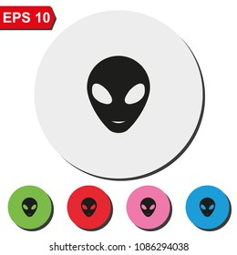 Alien head flat round colorful vector icon.