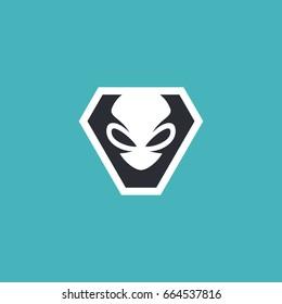 Alien head illustration for logo and tshirt design