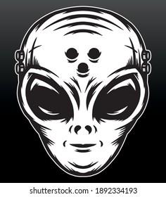 Alien head illustration. Premium vector