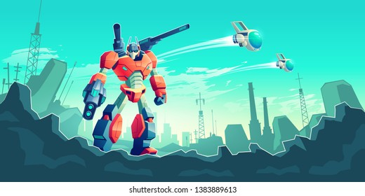 Alien invaders attacking metropolis cartoon vector concept. Battle robot, transformer warrior armed with laser gun standing on ruins of modern city, battle drone, spaceships flying in sky illustration