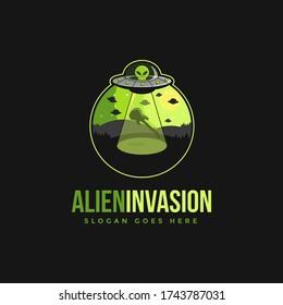 Alien invasion emblem logo icon vector illustration on black background