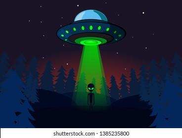 Alien invasion on Earth. UFO at night