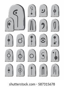 Alien language stone tablets