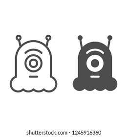 Alien line and glyph icon. Extraterrestrial vector illustration isolated on white. Monster outline style design, designed for web and app. Eps 10