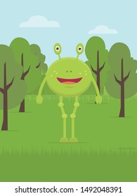 Alien in middle forest vector flat