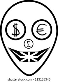 Alien with money on a white background