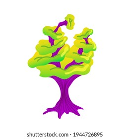 Alien mushroom. Fabulous mushroom plant. A magical plant of green and purple colors. Vector illustration of an alien mushroom on a white background.