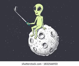 Alien photographs himself on Moon.Vector illustration