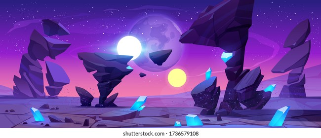 Alien planet landscape for space game background. Vector cartoon fantasy illustration of cosmos and planet surface with rocks, shiny blue crystals, satellites and stars in night sky