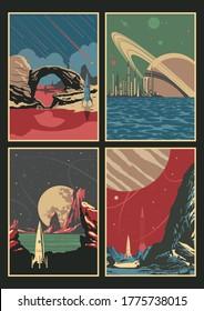 Alien Planets Landscape Set Retro Future Illustrations, Planets, Space Rockets, Skies