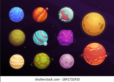 Alien planets vector cartoon set of space game user interface, ui or gui design. Fantasy galaxy universe planets and stars with craters, asteroids and satellites, orbits, ice crystal and meteor rings