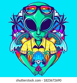 alien with skate in the beach vector