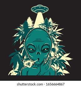 ALIEN SMOKING MARIJUANA WITH UFO BACKGROUND