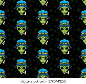 Alien Smoking Weed Seamless Pattern. Vector Illustration.