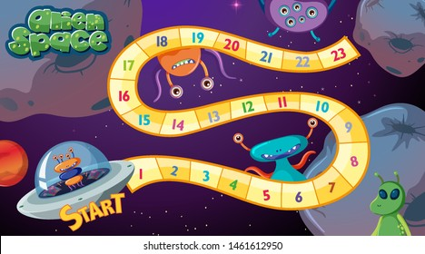 Alien space board game illustration