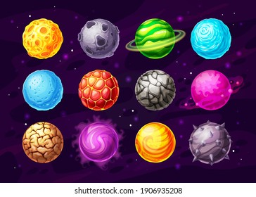 Alien space planets cartoon vector design of space game UI, user interface. Fantasy universe galaxy planets with orbits, stones, magic energy fire craters and ice crystals, mist rings and stars
