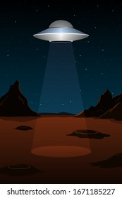 Alien spaceship above planet Mars. Vertical poster. Vector illustration.