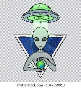 Alien and alien spaceship. Cartoon alien. Grey alien. Greys.