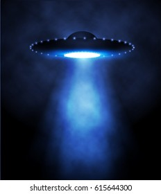 Alien Spaceship with Light Beam and Fog. UFO Vector Illustration.
