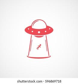 Alien Spaceship UFO Takes Human Red Flat Icon On White Background