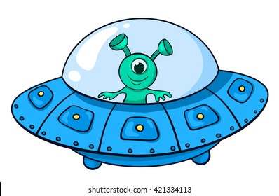 The alien in the spaceship. Vector children illustration. Isolated on white.