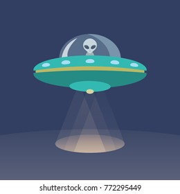 Alien and UFO Cartoon Flat Design