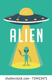 Alien and UFO Illustration