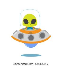 Alien in the UFO vector illustration