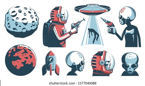 Alien UFO vintage set with astronaut and martian. Space retro design elements. Vector illustration.