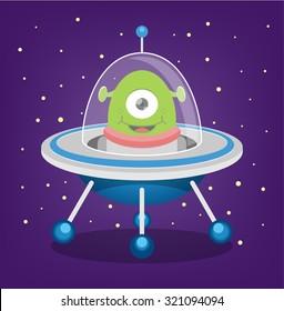 Alien vector flat illustration