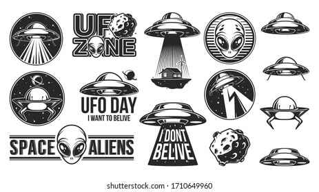 Aliens logo big set. Ufo Day. Meteor, asteroid. Badges with spaceships and abduction. Civiliztion research labels. Vector illustration.