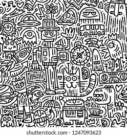 Alien's morning doodle vector seamless pattern. Black and white hand drawn background with cute monsters. Modern robots and fantastic creatures art texture