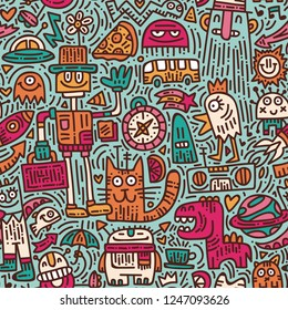 Alien's morning doodle vector seamless pattern. Colorful hand drawn background with cute monsters. Modern robots and fantastic creatures art texture