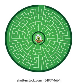 Alien's Round Maze Game (help the lost alien find its way out of the maze - Maze vector puzzle)
