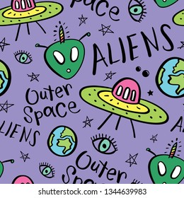 Aliens and spaceships seamless pattern repeating texture background / Vector illustration design for textile graphics, fashion fabrics, prints, wallpapers etc