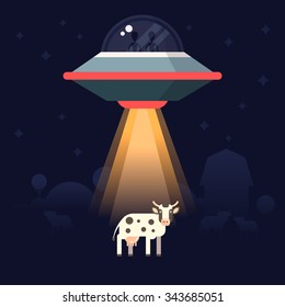 Aliens steal  the earth animals as examples for research. Star ship and aliens on the back. Vector illustration.