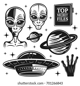 Aliens and ufo set of paranormal activity vector objects and design elements in monochrome style isolated on white background