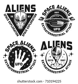 Aliens and ufo set of vector black emblems, labels, badges or logos in vintage style isolated on white background