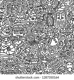 Alien's winter holidays doodle vector seamless pattern. Black and white hand drawn background with cute monsters and new year gifts and decorations. Funny robots christmas art texture