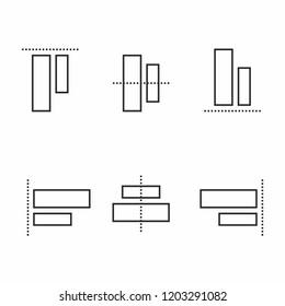 Align elements icon set for toolbar or website design. Vecetor