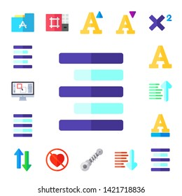 alignment icon set. 17 flat alignment icons.  Collection Of - font, left alignment, editor, align right, justify, sort ascending, sort, lovemaking, suspension, sort down, superscript