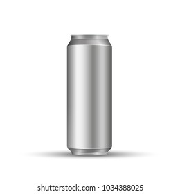 Aliminum drink can isolated on white background. Vector illustration. Eps 10.