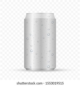 Aliminum drink can. White can vector visual, ideal for beer, lager, alcohol, soft drinks, soda.