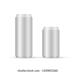 Aliminum drink cans. White can vector visual, ideal for beer, lager, alcohol, soft drinks, soda.