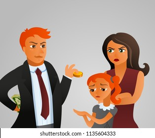 Alimony and divorse. Vector illustration
