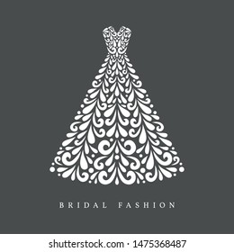 A-line silhouette wedding dress. Vector floral decoration made from swirl shapes. Simple decorative gray and white illustration.