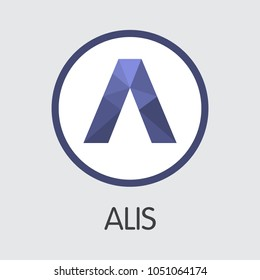 Alis. Virtual Currency. ALIS Pictogram Symbol Isolated on Grey Background. Stock Vector Pictogram Symbol.