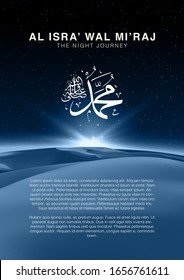 Al-Isra wal Mi'raj means The night journey of Prophet Muhammad, Multipurpose Brochure or Background template. Islamic background design template Vector Illustration. Suitable for greeting card