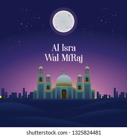Al-Isra wal Mi'raj with Mosque Vector Illustration On Purplish Background. The text mean: The Night Journey of Prophet Muhammad