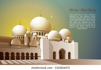 Al-Isra wal Mi'raj with Realistic Islamic Mosque Vector Illustration. The text mean: The Night Journey of Prophet Muhammad